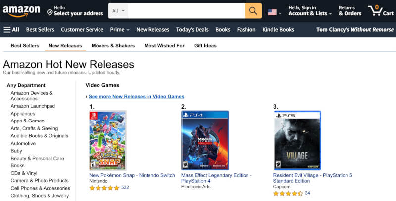 amazon new releases dropshipping