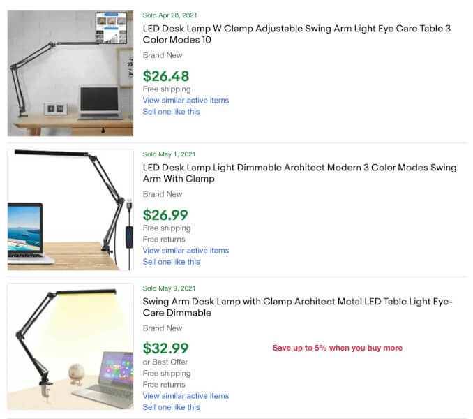 eBay lamps dropshipping listings