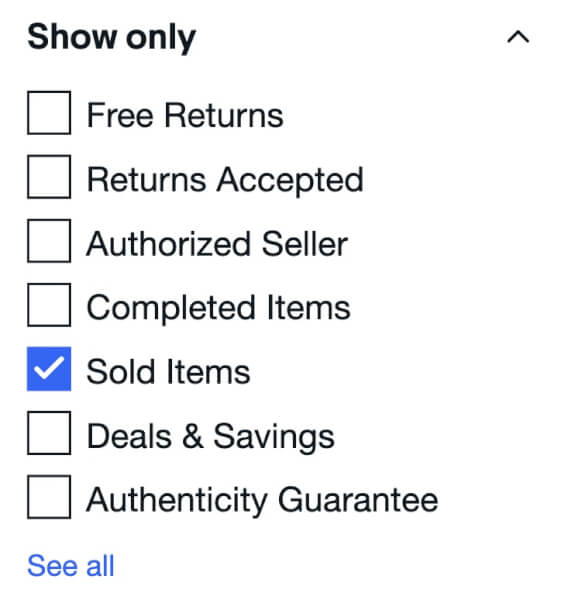 ebay filter by Sold Items