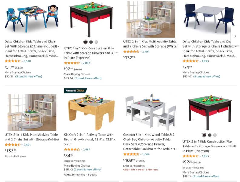 kids storage tables