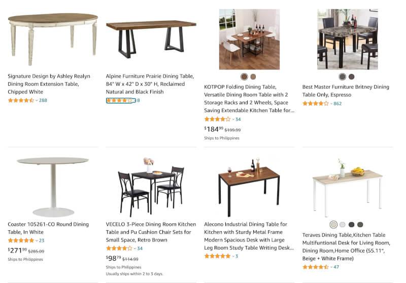 dropship dinning tables