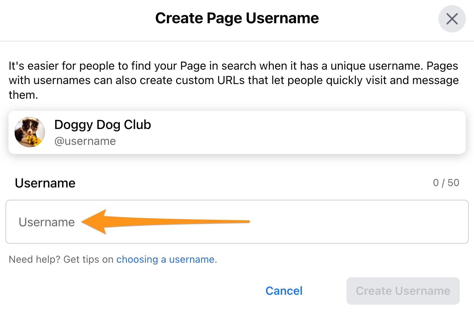 Enter Username Facebook