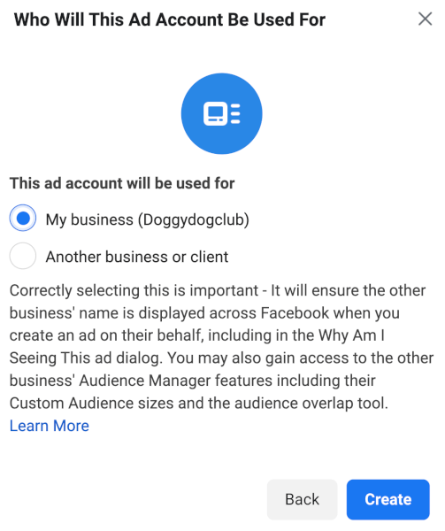 select business facebook ads