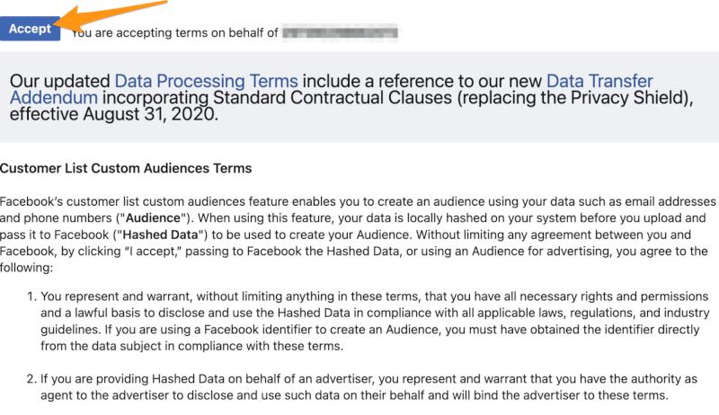 accept facebook terms