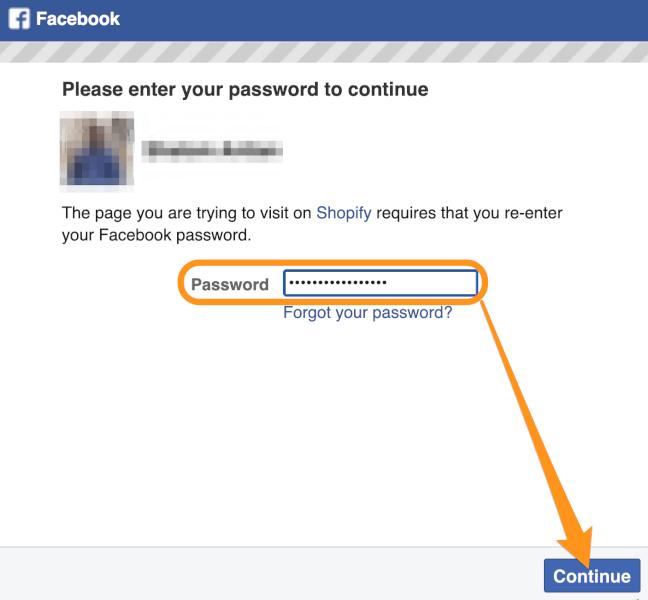 facebook password shopify