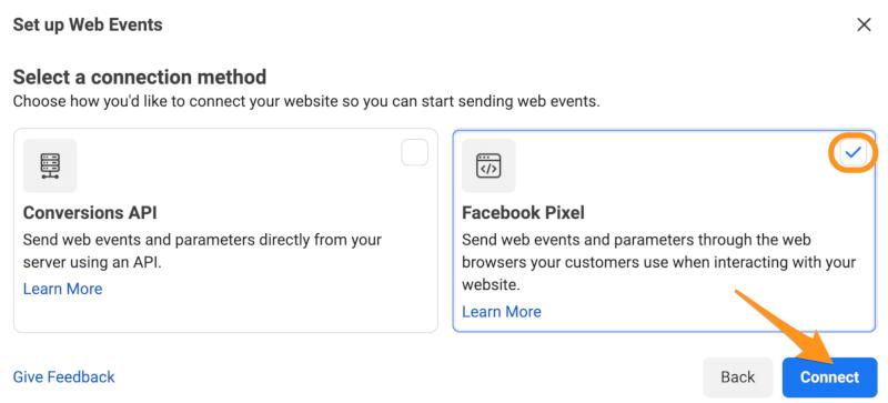 connect facebook pixel