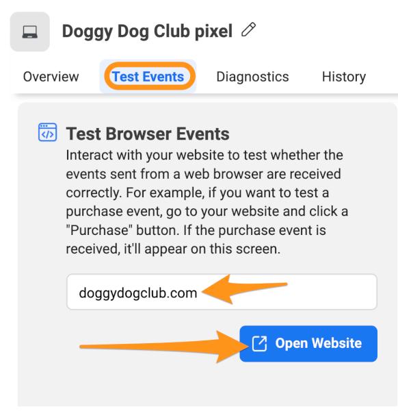 test events pixel