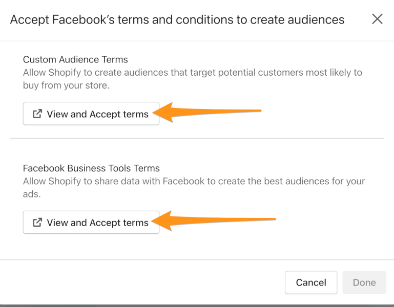 view facebook terms