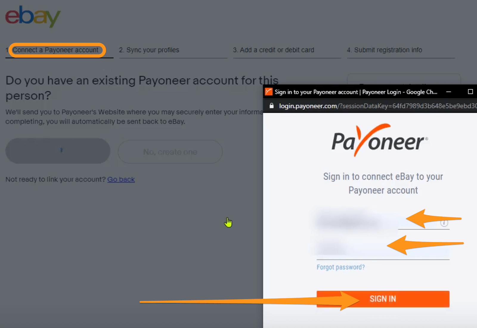 connect payoneer to ebay