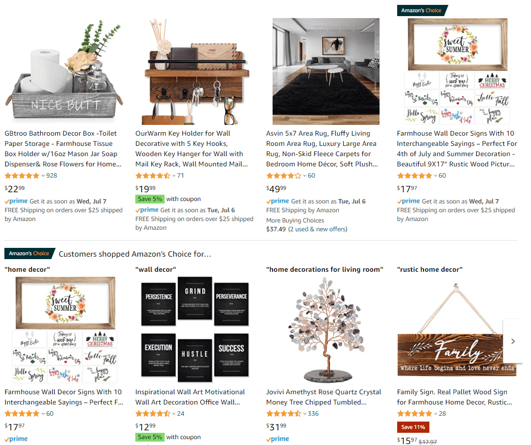 Amazon Home Decor Products