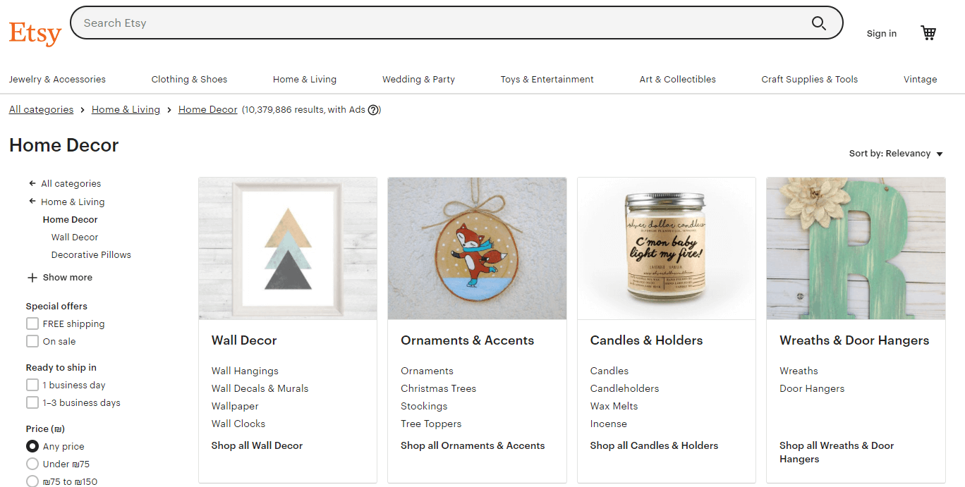 Etsy Home Decor Products