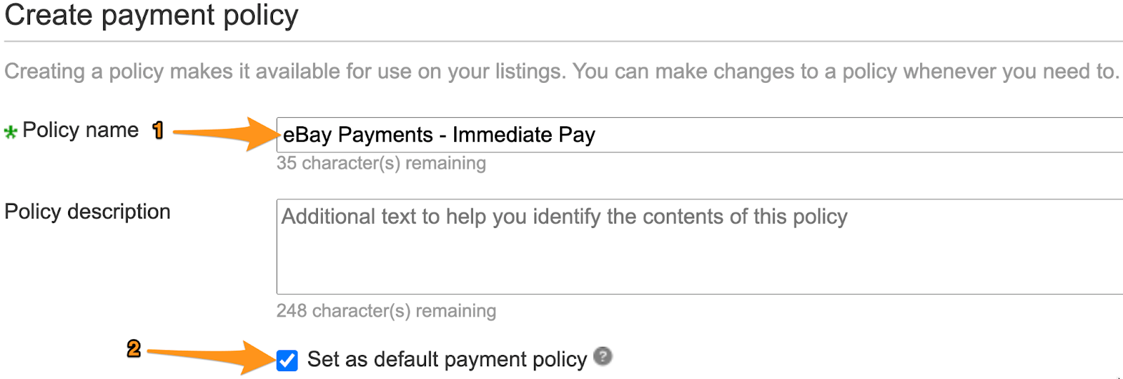 ebay payment policy