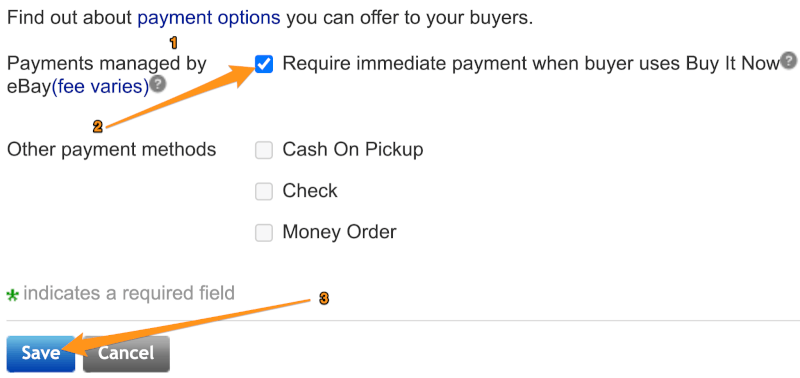 payment options ebay