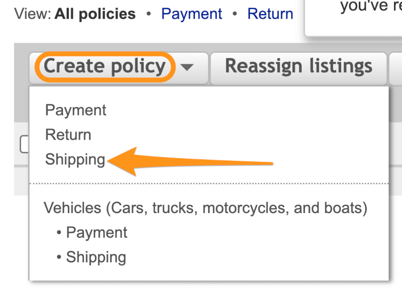 create shipping policy
