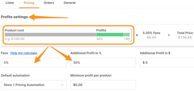 dropshipping profit settings