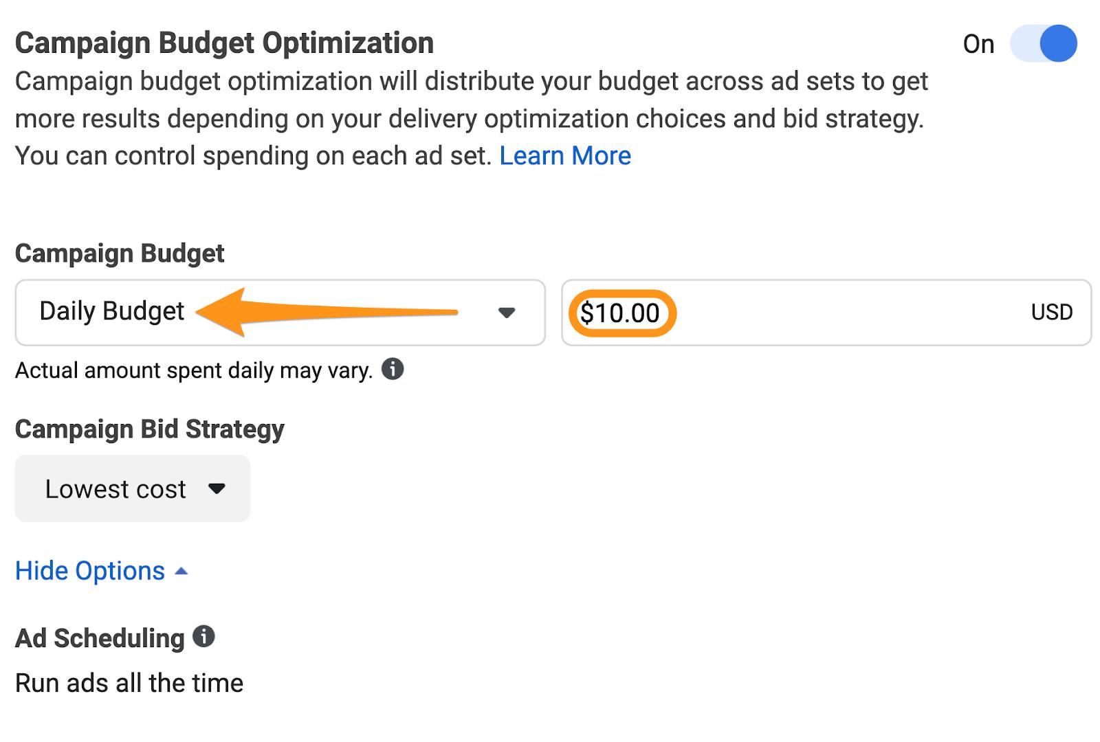 facebook ad campaign budget