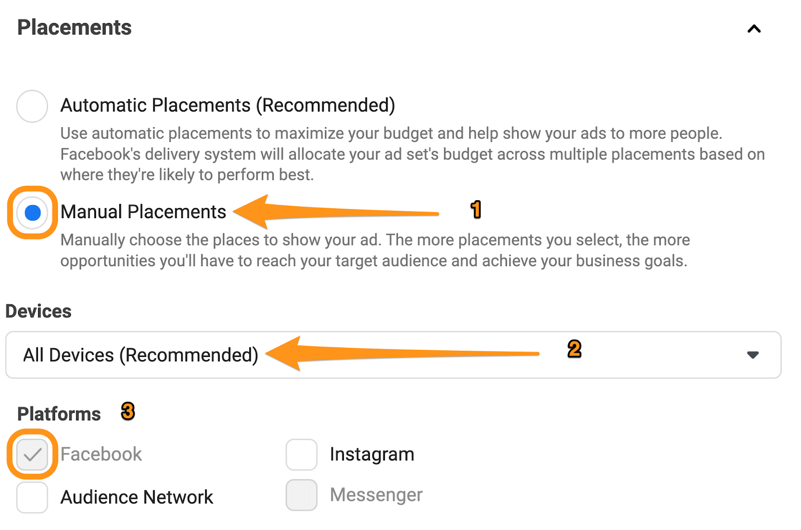 facebook ad placement settings