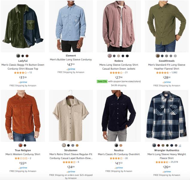 Men's Clothing - Hot Products - Corduroy Shirts