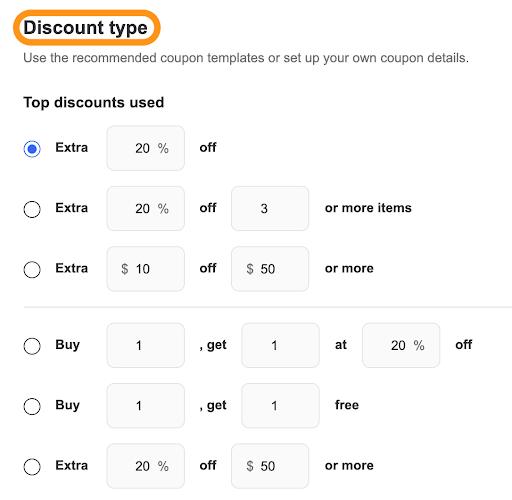 select discount type ebay