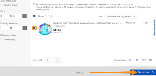 set ad rate ebay
