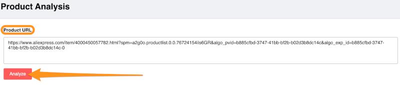 enter product url aliexpress