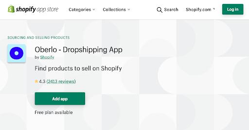 oberlo dropshipping shopify app
