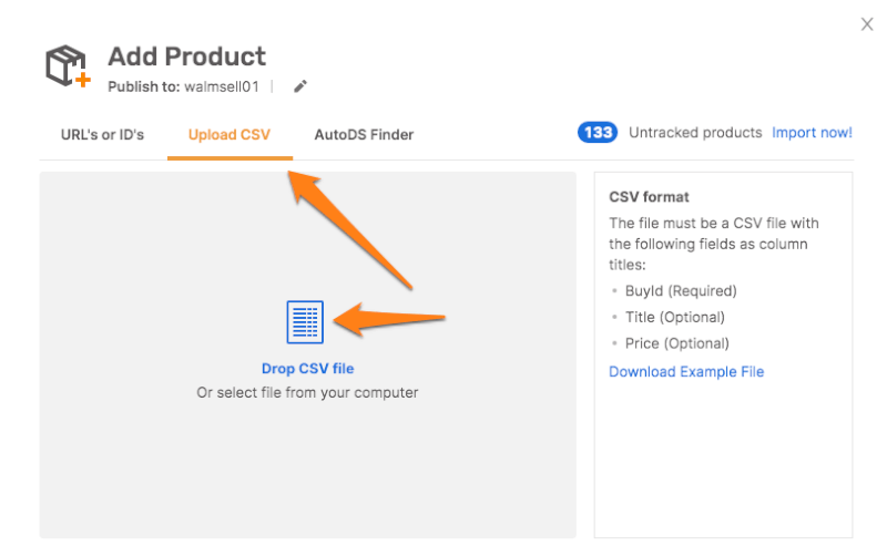 Import Products with AutoDS' CSV File Lister