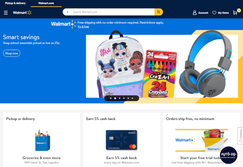 Dropship from Walmart to Shopify