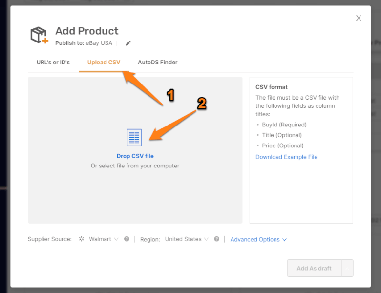 Upload CSV File to Import Products