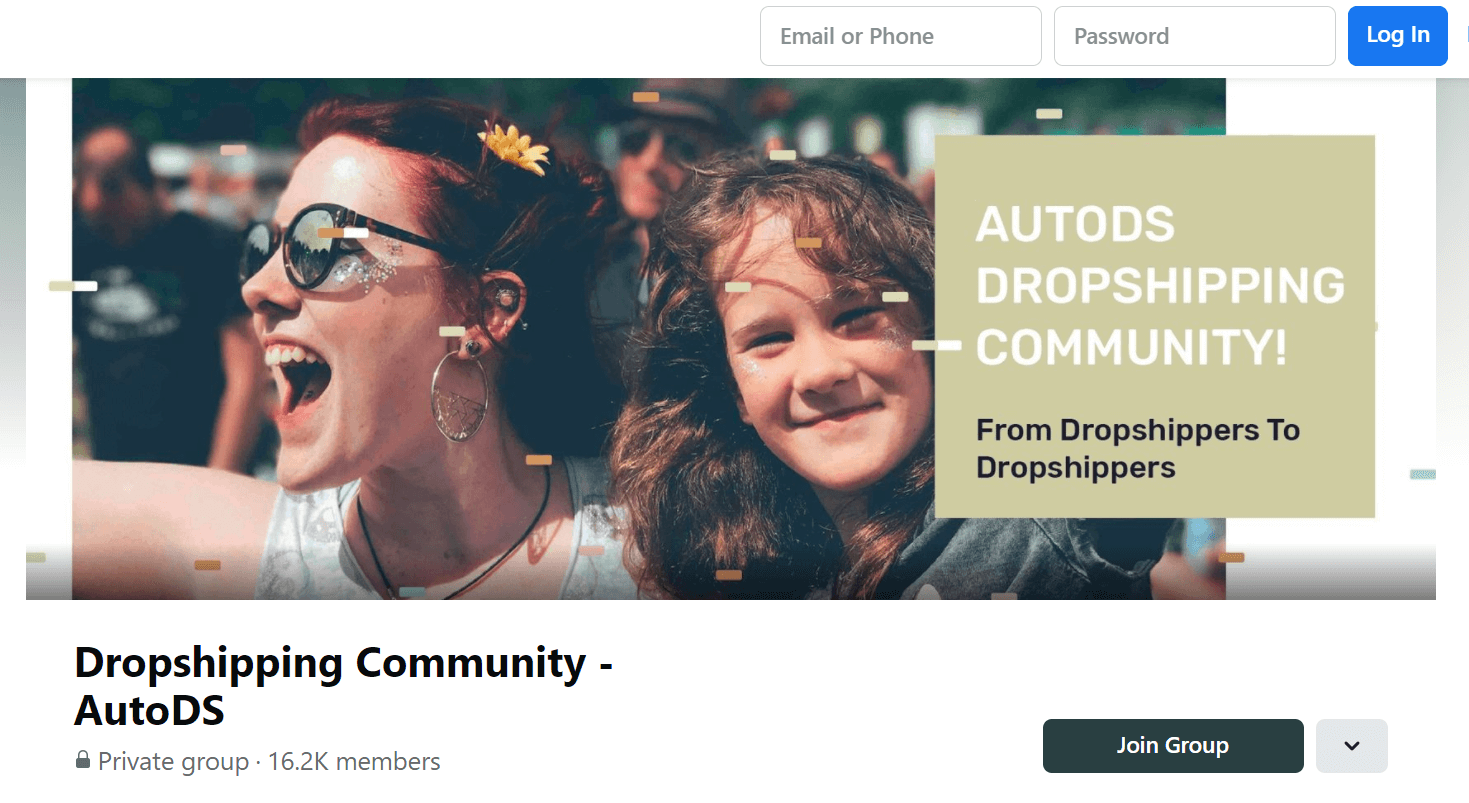 AutoDs Dropshipping Community Facebook Page