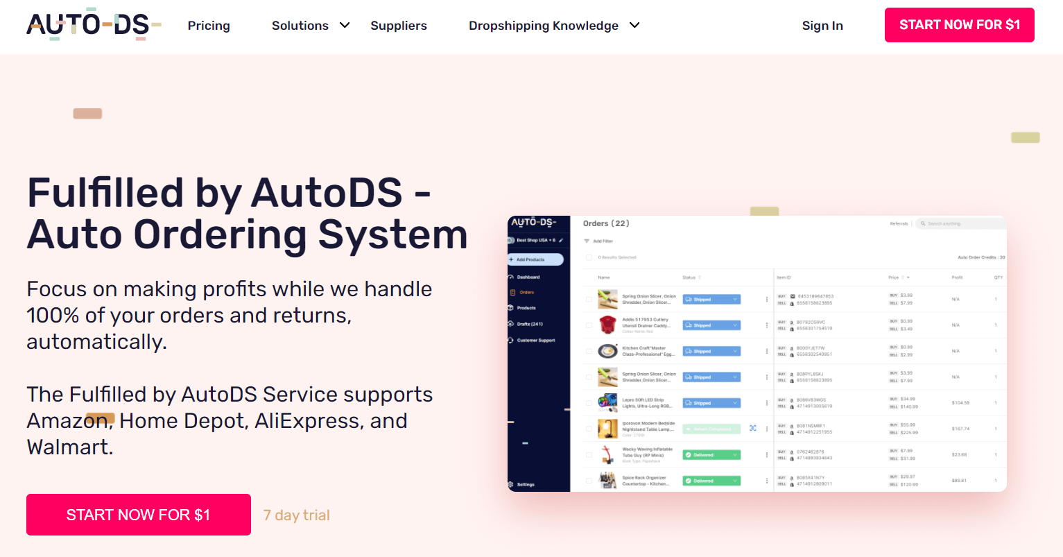 Fulfilled by AutoDS Auto Ordering System