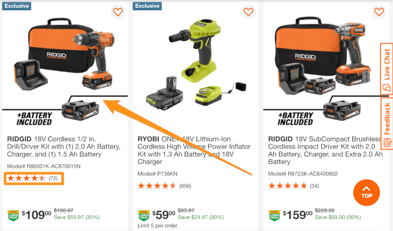 home depot dropship highly rated products