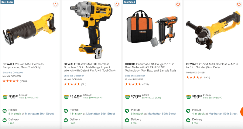 home depot New Lower Prices ecommerce Categories