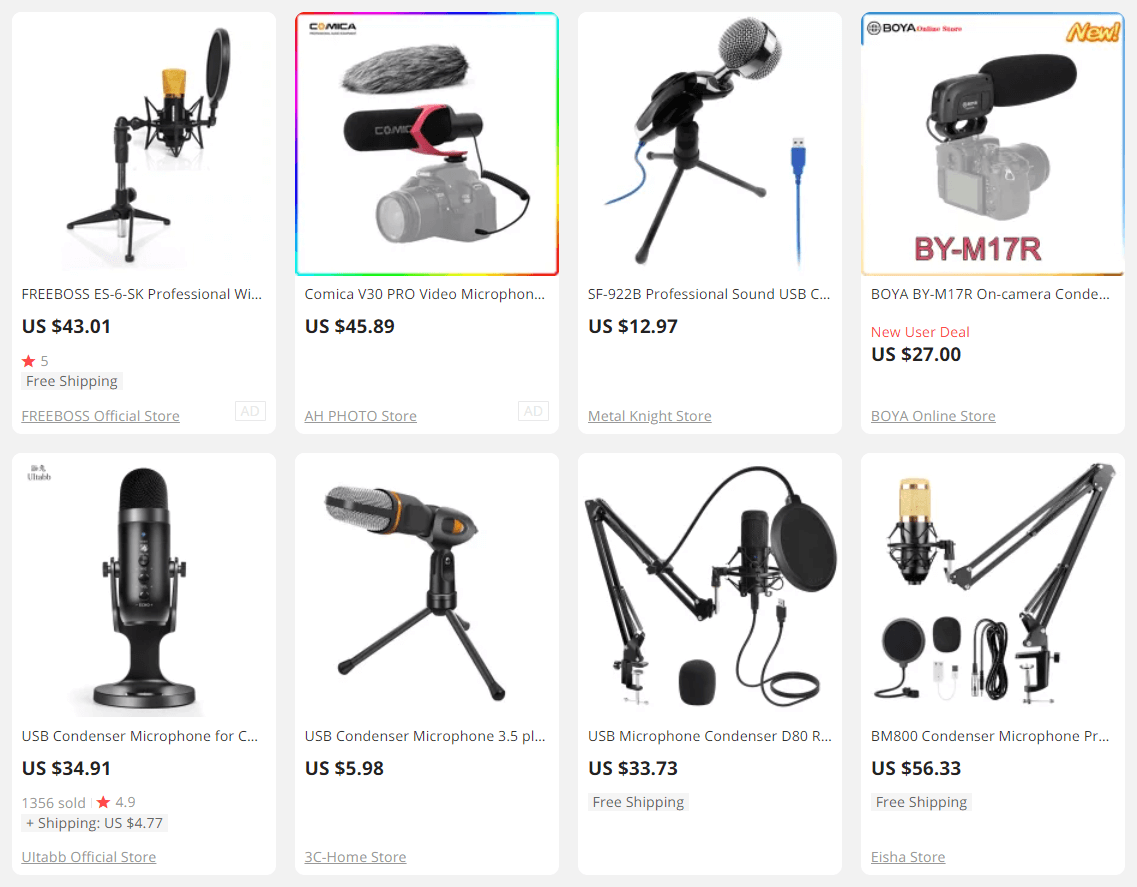 Dropshipping condenser microphones products to sell