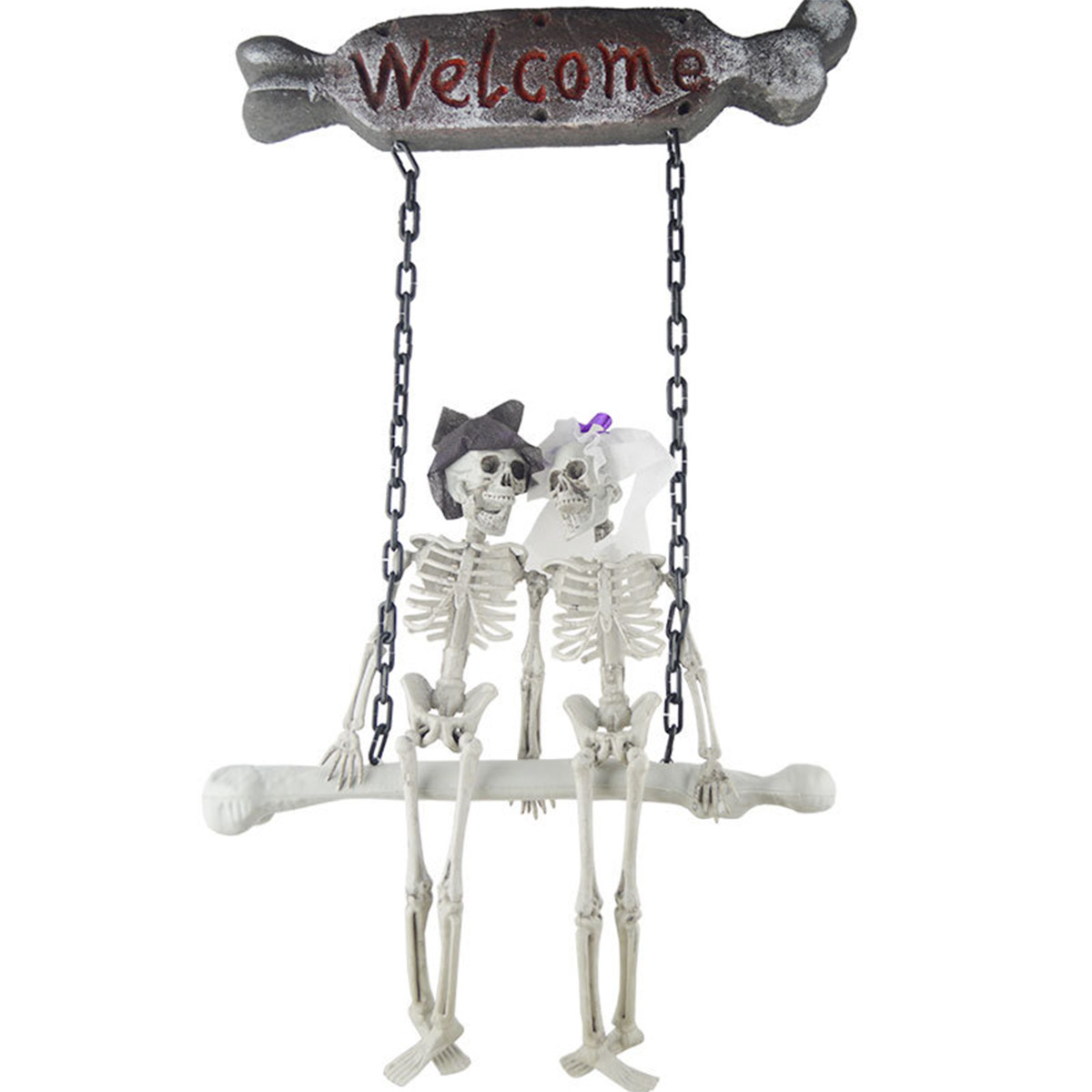 Halloween Decorations Couple Skeleton Hanging Ghost Prop Scary Haunted House Outdoor Indoor - White