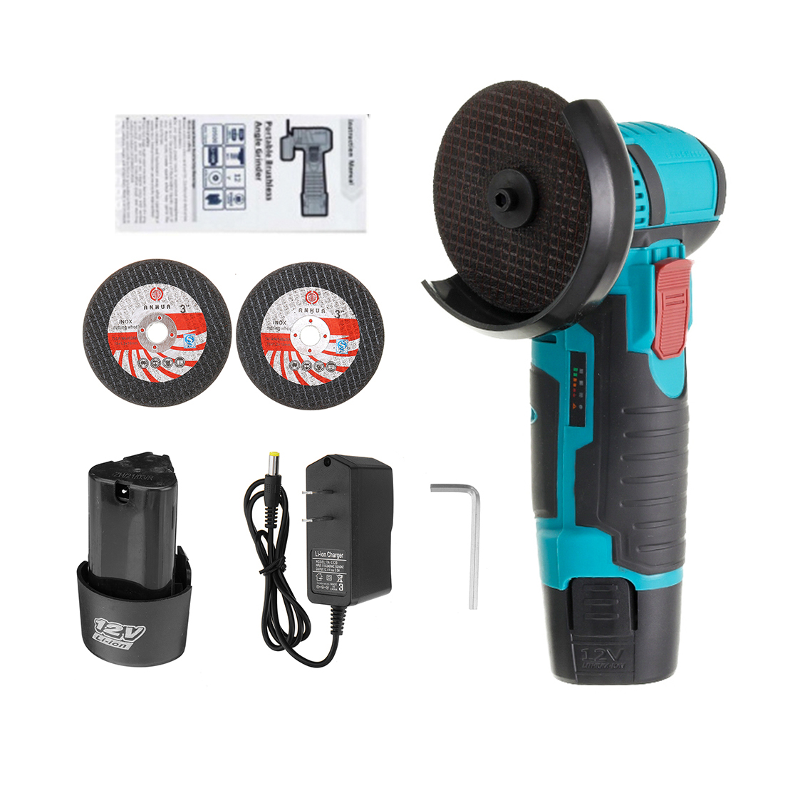 12V Brushless Angle Grinder Mini Cordless Electric Angle Grinder for Metal Wood W/ 1/2Pcs Battery