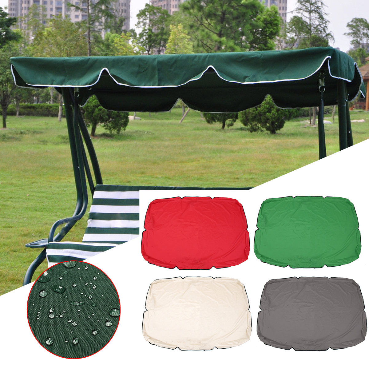 Summer Swing Top Cover Canopy Replacement Furniture Waterproof Cover for Garden Courtyard Outdoor Swing Chair Hammock Canopy Swing Chair Awning