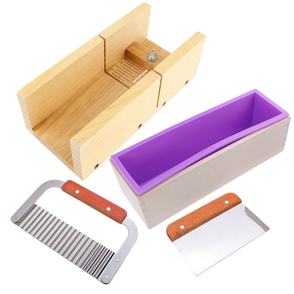 Wooden Box Silicone Soap Making Mold Loaf with Soap Cutter Cutting Mould