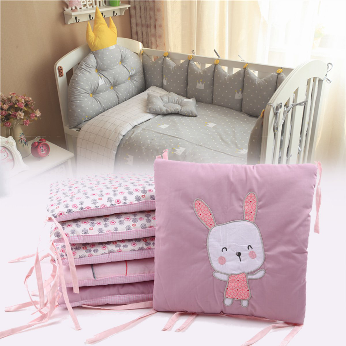 6Pcs Set Cotton Cot Bumper Baby Crib Infant Toddler Nursery Bed Protector Pillow