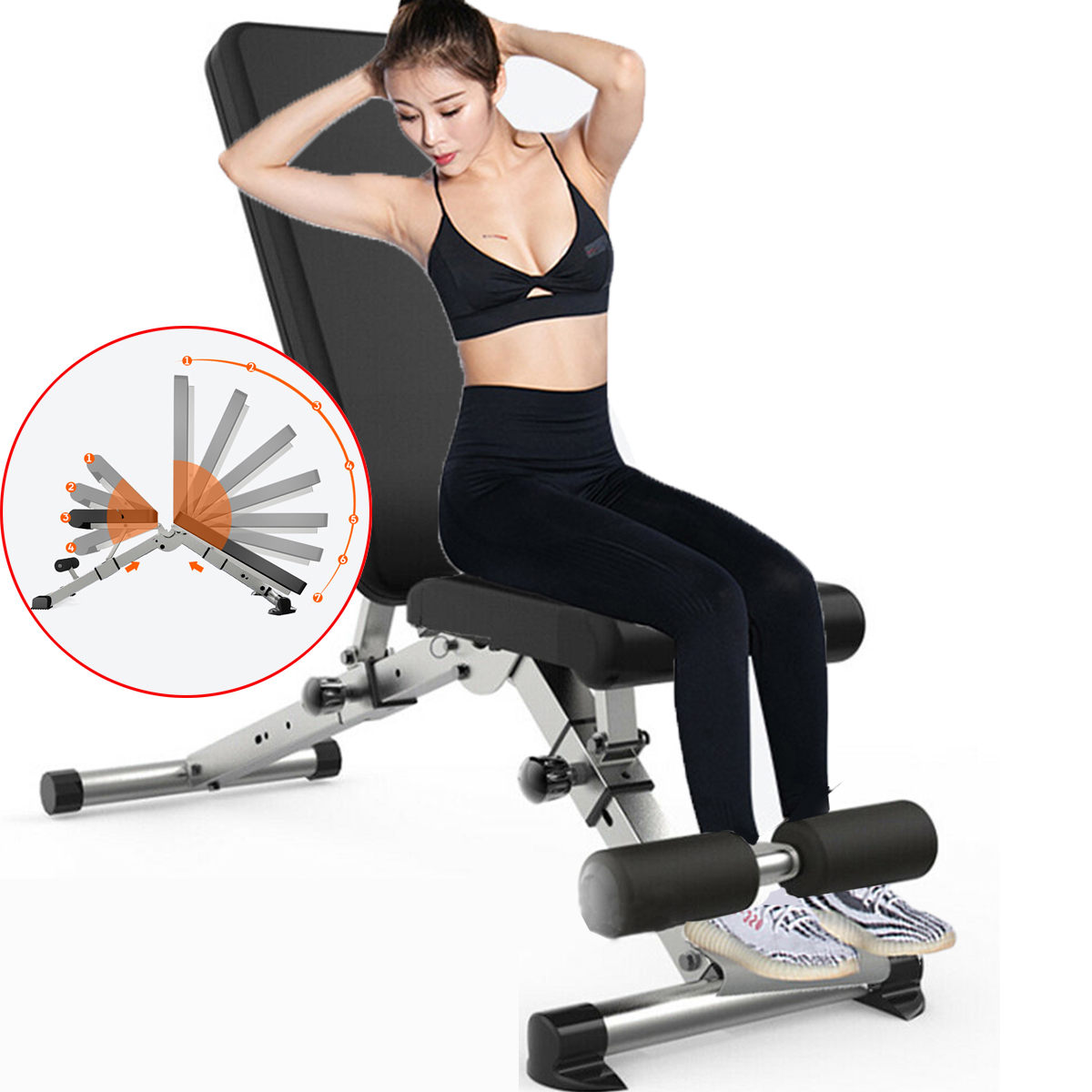 Multifunctional Foldable Dumbbell Bench 7 Gear Backrest Sit up AB Abdominal Fitness Bench Weightlifting Training Equipment