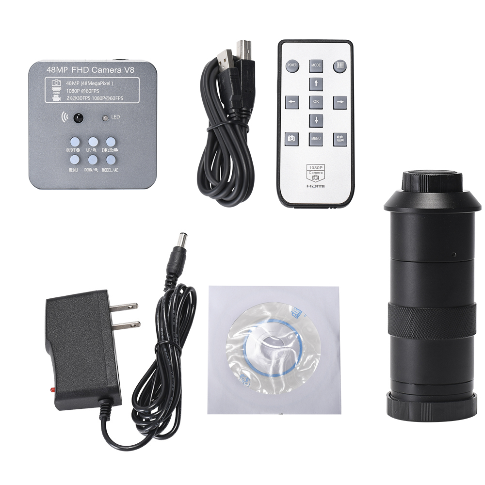 HD 2K 48MP 1080P Electronic Digital Video Microscope Camera HDMI USB C-Mount Industrial Camera for Phone PCB Solder Repaired