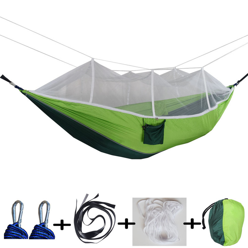 260X140Cm Double People Mosquito Hammock Camping Garden Sleeping Hanging Bed with Carabiners Storage Bag