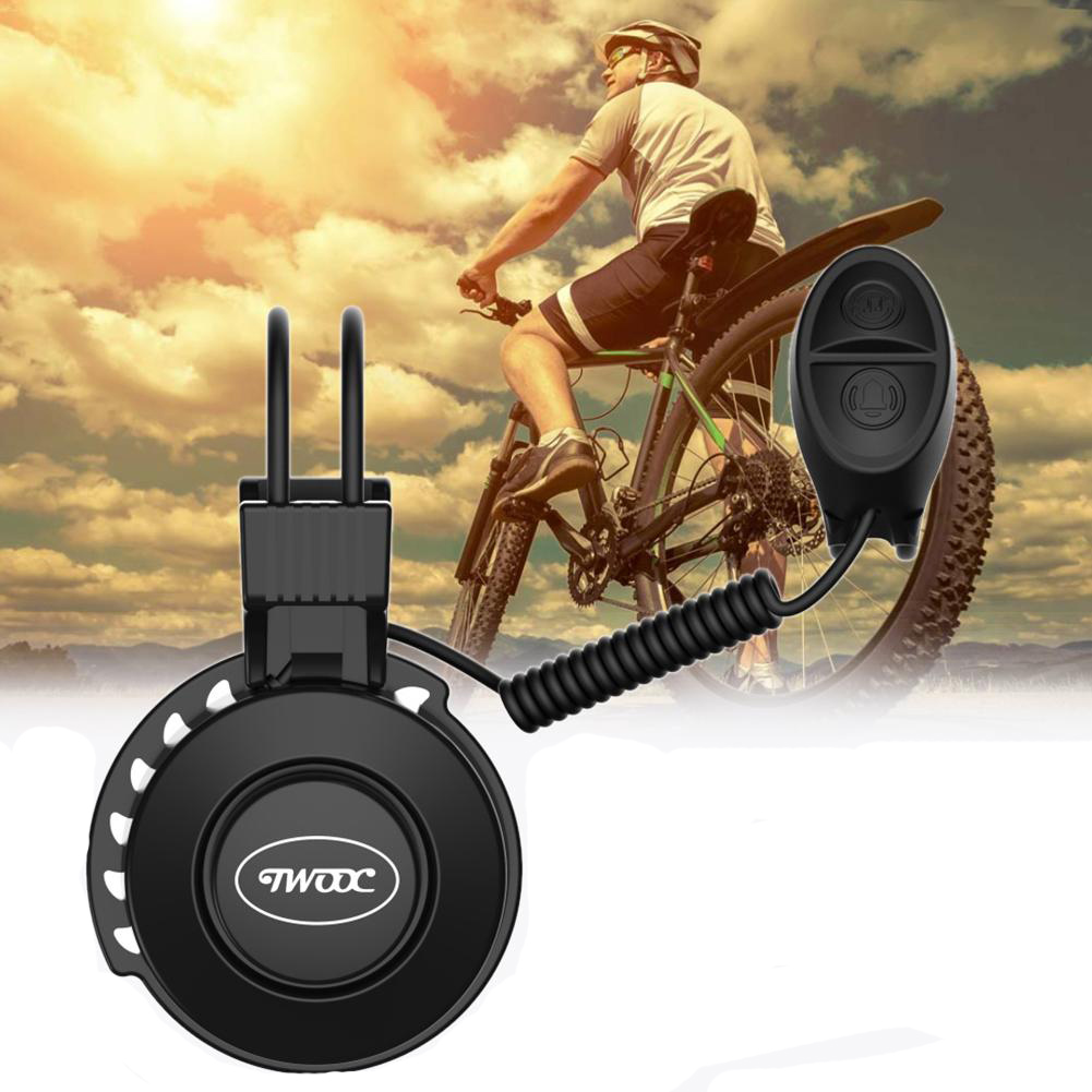 TWOOC Upgraded USB Charging Electronic Bike Bell Waterproof 50-100Db Adjustable 4 Modes Low Noise Bike Alarm Bicycle Accessories
