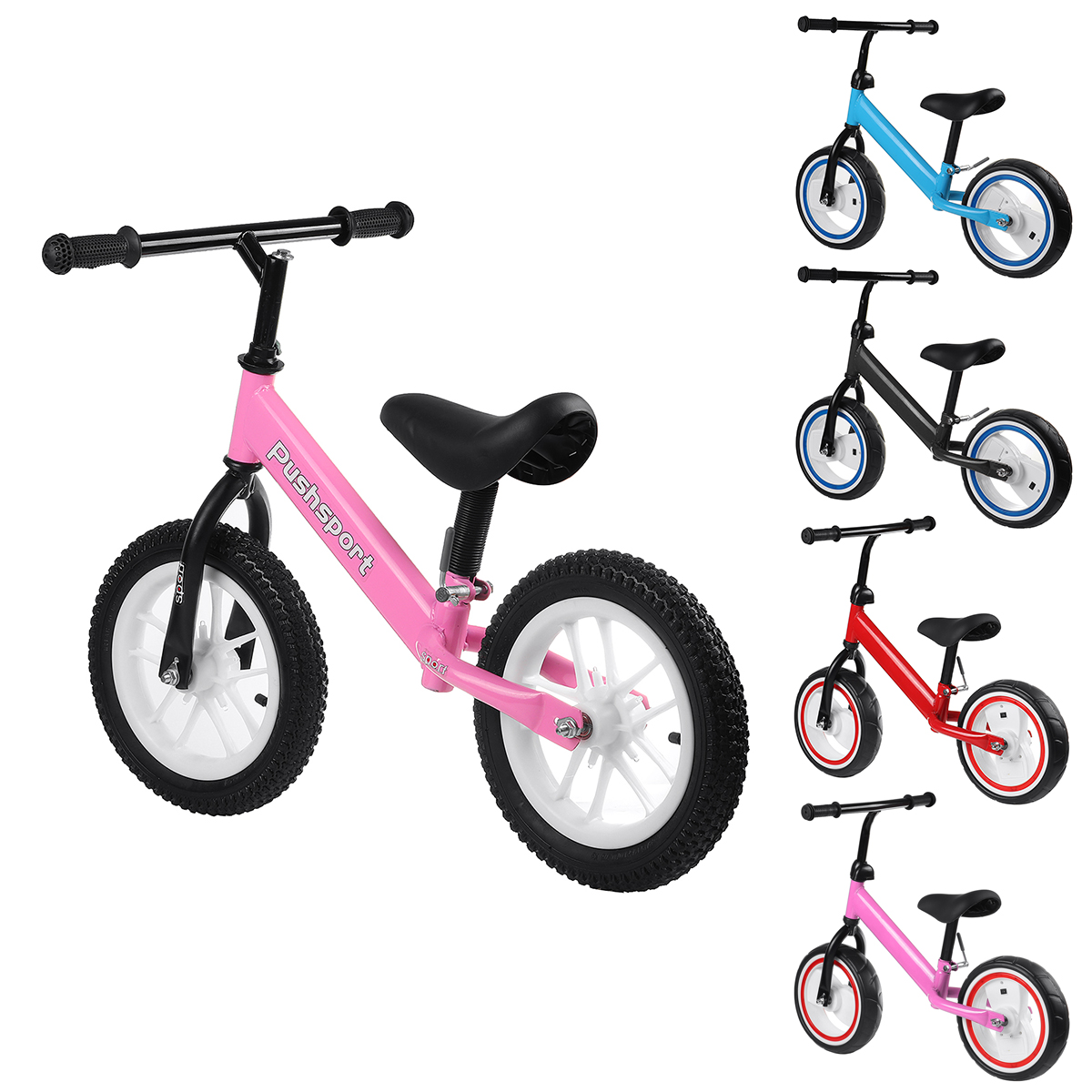 Kids Adjustable Height Flashing Balance Bikes Children Bicycle with Comfortable Cushions&Non-Slip Handles Wear-Resistant&Shock-Absorbing Rubber Tires Aged 2-7 Years Old