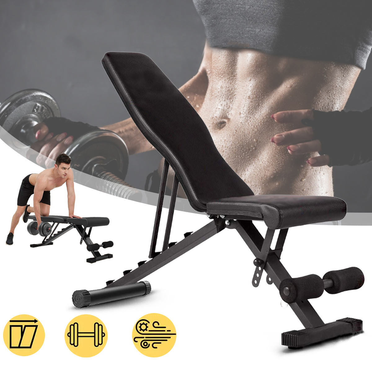 Multifunctional Muscle Bench Folding Abdominal Workout Bench Adjustable Weight Bench Gym Home Sport Fitness Equipment