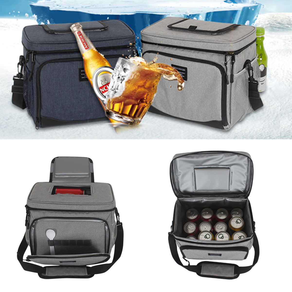 15L Outdoor Picnic Thermal Insulated Cooler Bag Lunch Food Box Container Storage Bag