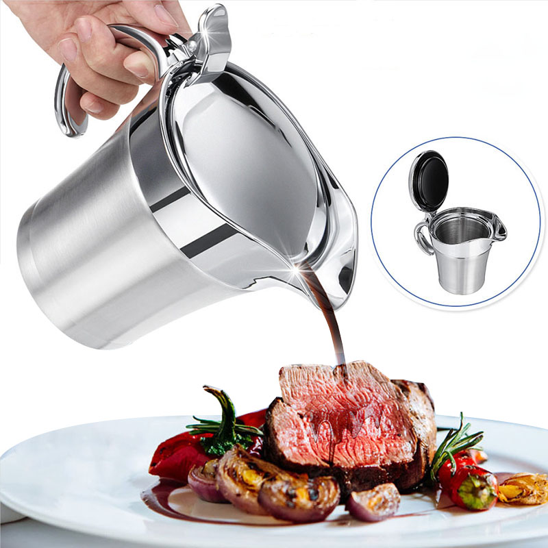 Stainless Steel Double Insulated Jug Gravythermal Sauce Kettle Kitchen Serving Storage Tableware Tool