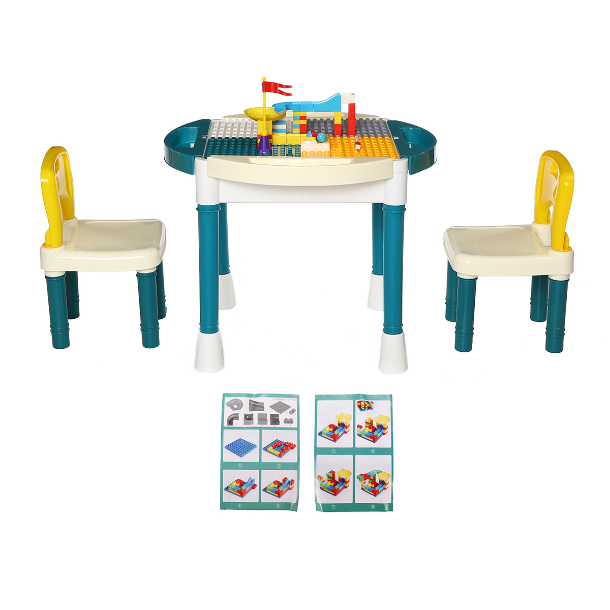 Children Building Blocks Kids Table and Chairs Set Toy Bricks Activity Play Baby