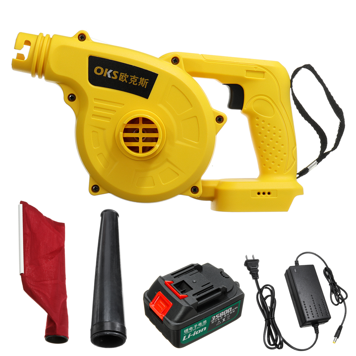 110-220V Cordless Handheld Electric Blower Air Vacuum Dust Leaf Cleaner Sweeper One Lithium Battery