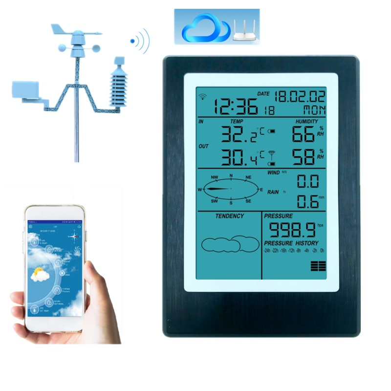 Wifi Weather Station LCD Thermometer Hygrometer Rainfall Pressure Wind Speed Direction Wireless APP Weather Forecast Data Alarm